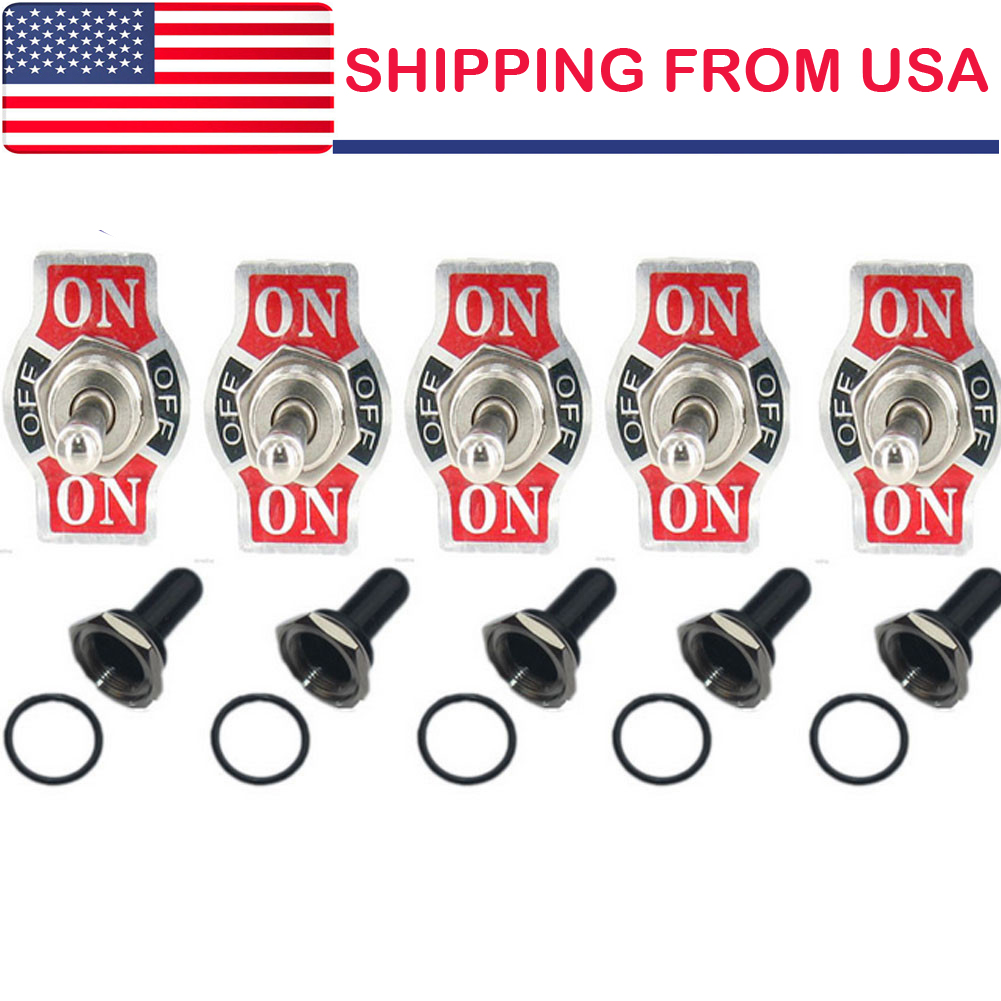 -OFF- 5 X Heavy Duty 20A 125V SPDT 3 Term Momentary Toggle Switch Boot ON ON