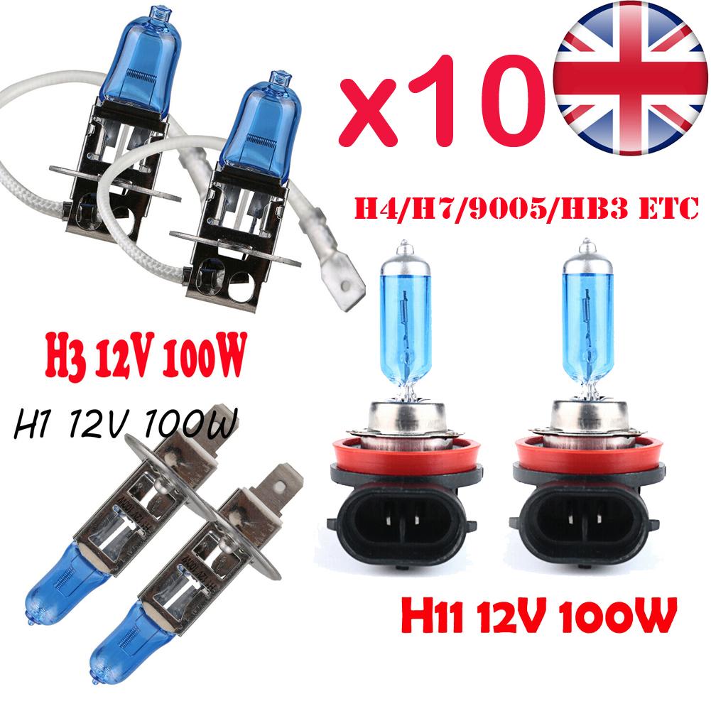 H1 H7 H4 H11 55W 100W Xenon White 6000k Halogen Bulbs Blue Car Head Lamp Globes
