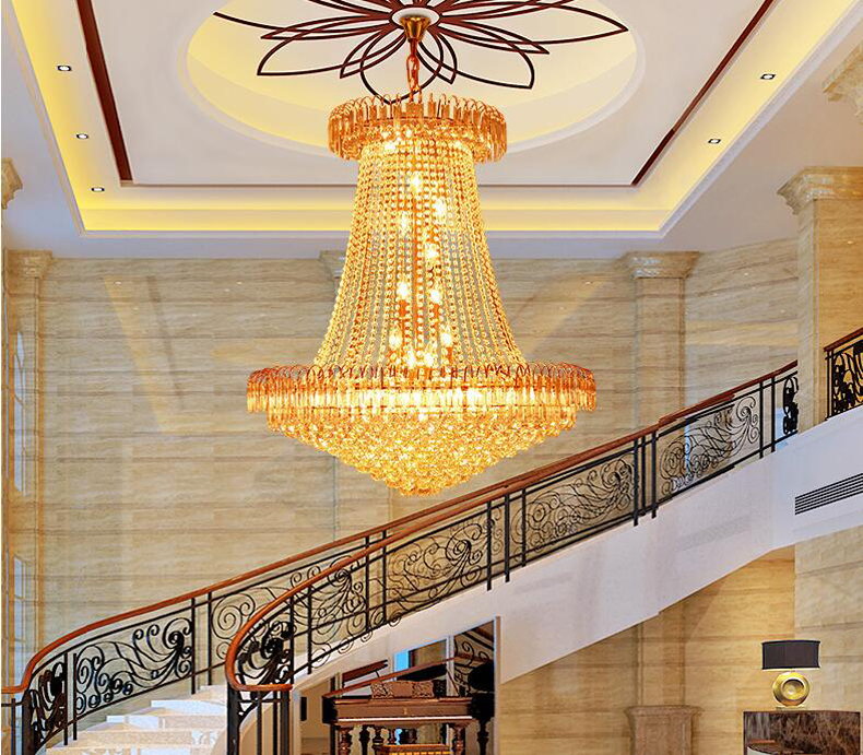 European Style Duplex Villa Stairs K9 Crystal Chandeliers