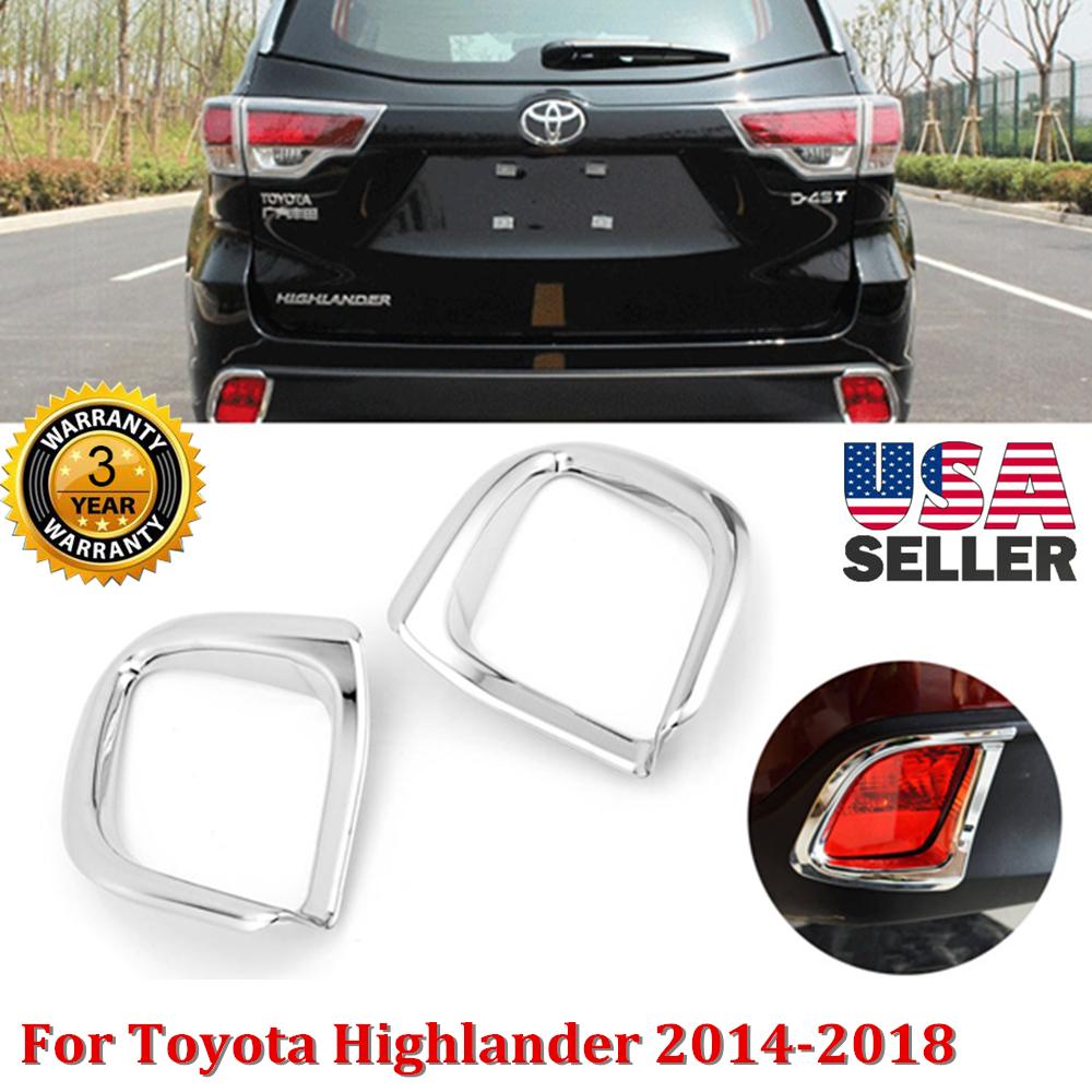 for 2014-2018 Toyota Highlander Chrome Rear Bumper Fog Light Lamp Cover Decor