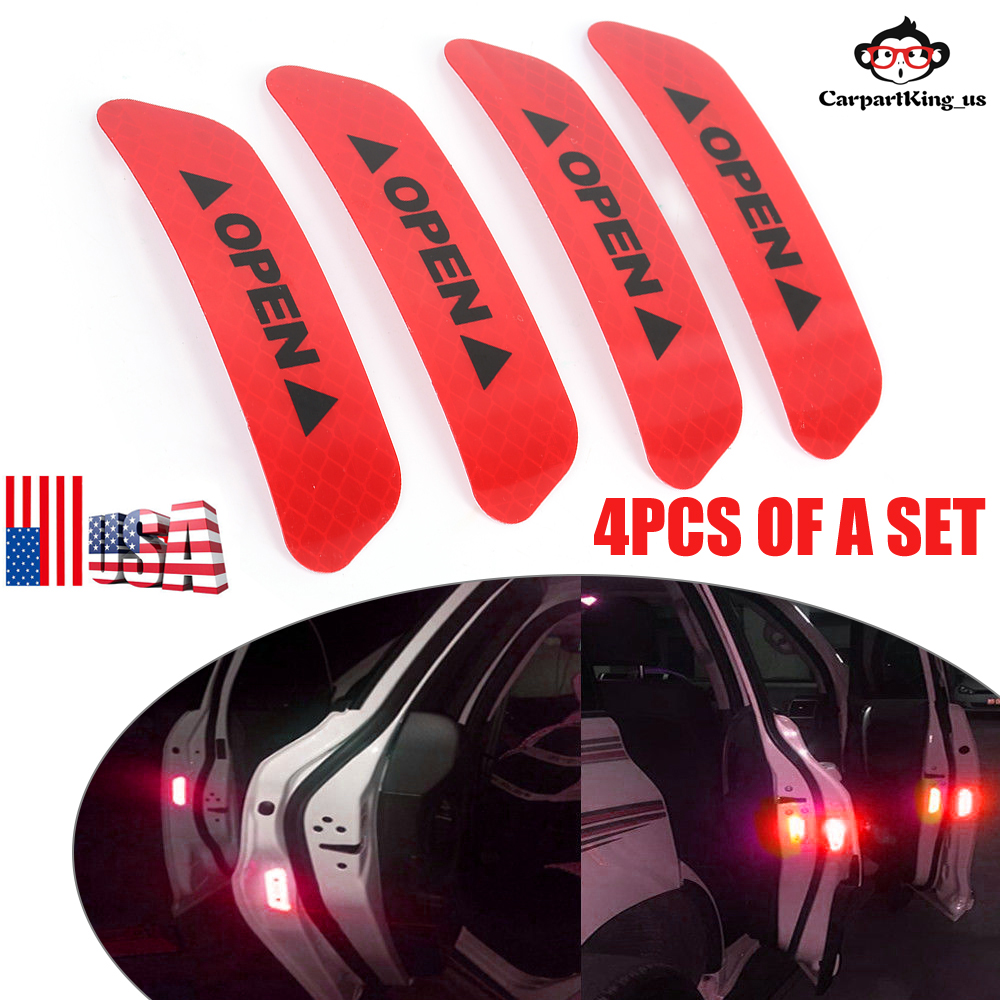 4pcs Universal Truck Car Door Open Stickers Reflective Tape Safety Warning Decal