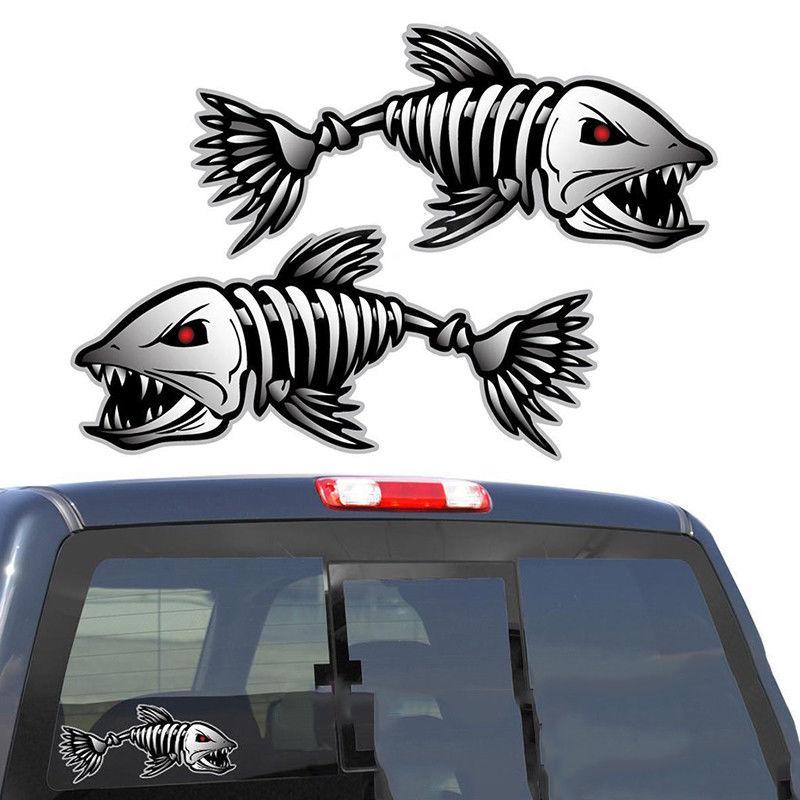 2x Skeleton Fish Bones Kayak Decal Sticker for Canoe Fishing Boat Car Graphics