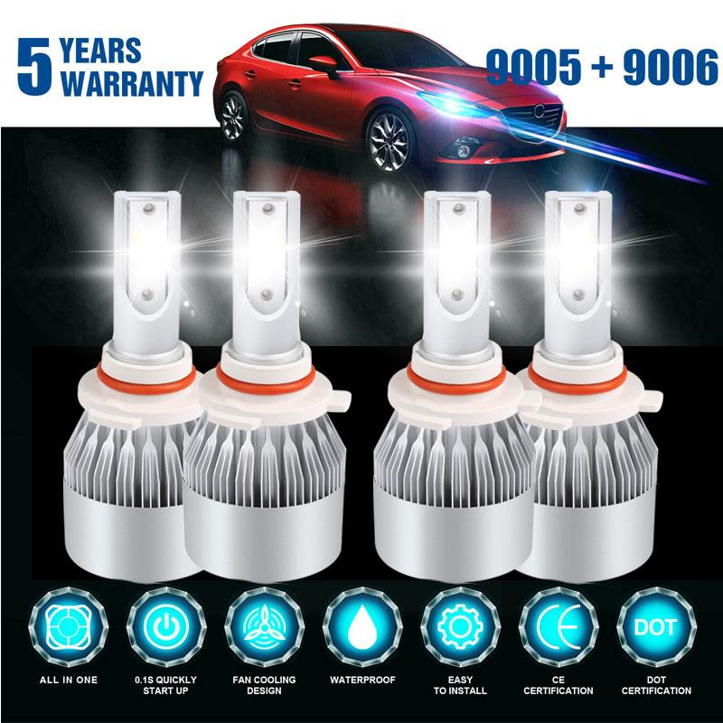 2set LED High Beam /& Low Beam Headlight Bulb Combo 9005 /& 9006 F 6000K White