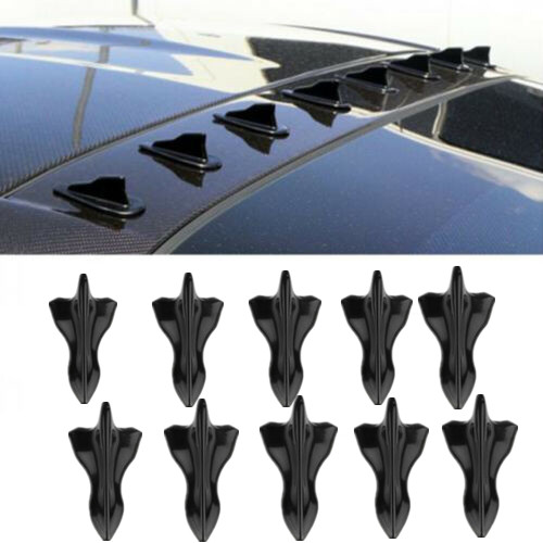 10pc Universal Car Shark Fin Diffuser Vortex Generator ABS Car Roof Spoiler