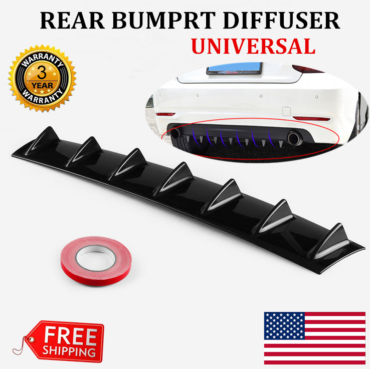 """33/"""" x6/"""" Shark Fin 7 Wing Lip Diffuser Rear Bumper Chassis Black ABS Universal"""