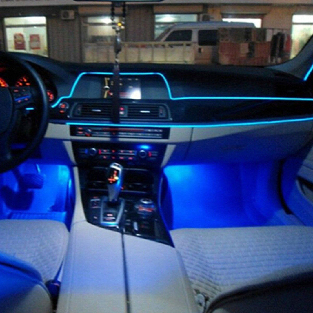 2m car interior led wire strip atmosphere cold light blue - Automotive interior led light strips ...