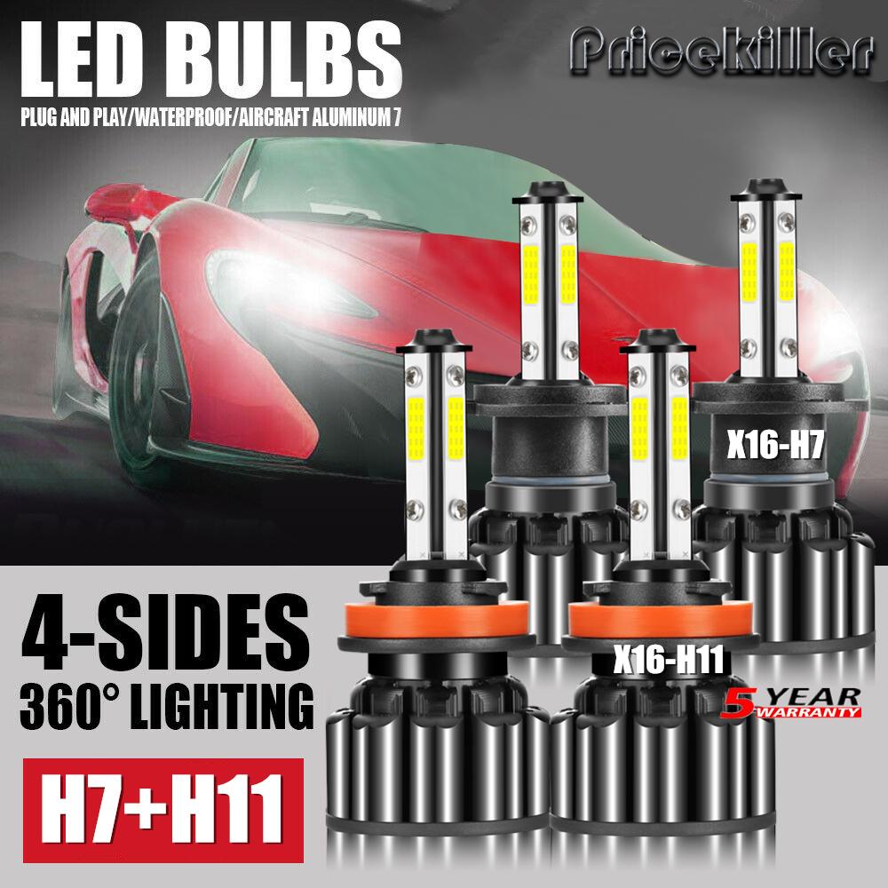 4 Sides H13 9008 3000W LED Headlight Bulb Hi//Lo Beam 6000K Lamp Headbulbs