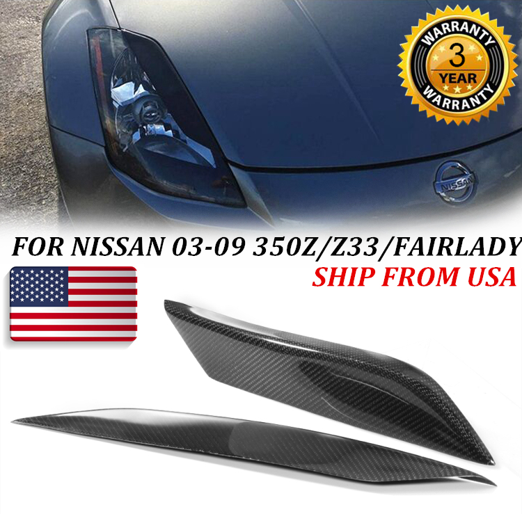 FOR NISSAN 2003-09 350Z-Z33 FAIRLADY CARBON FIBER HEADLIGHT EYE LID EYELID COVER