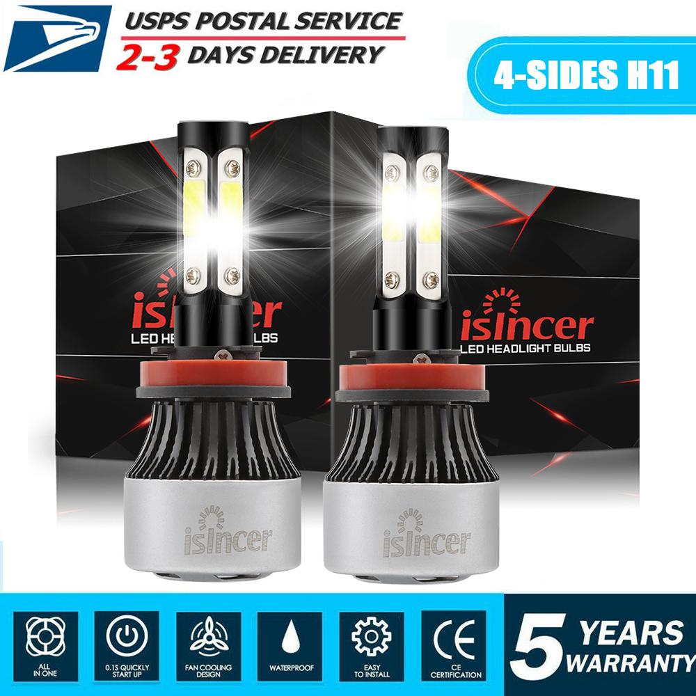 2xCombo H11 LED Headlight Kit Low Beam Bulb Super Bright 45Days Free Return