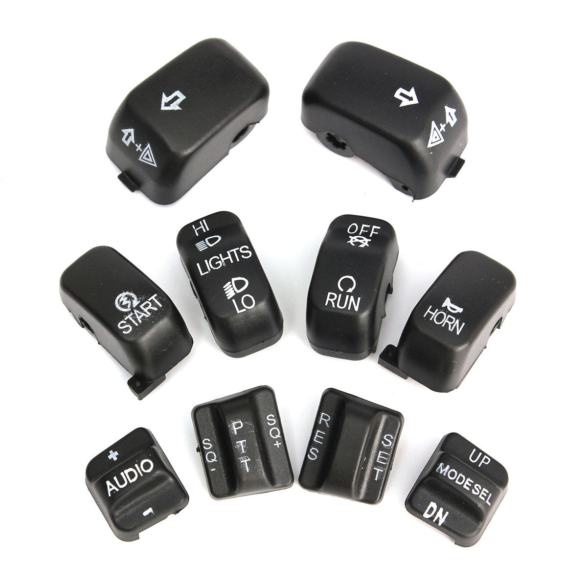 BLACK 10-PIECE RADIO CRUISE CONTROL SWITCH CAP KIT FOR 1996-2013 HARLEY TOURING