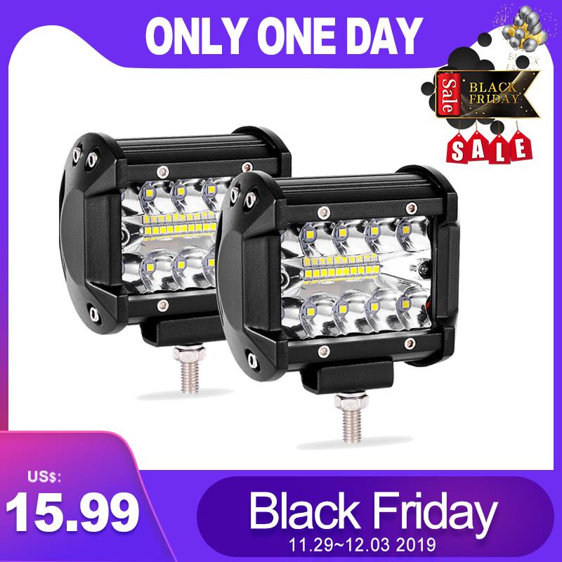 2X 4inch 12V 200W CREE LED Work Light Bar Pods Flush Mount Combo Driving Lamps