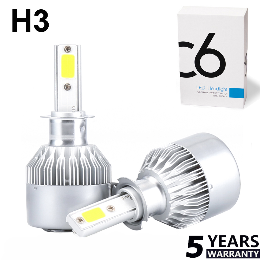 2x H3 1100W 159000LM LED Headlight Conversion Kit Fog Light Beam Bulb Lamp 6000K