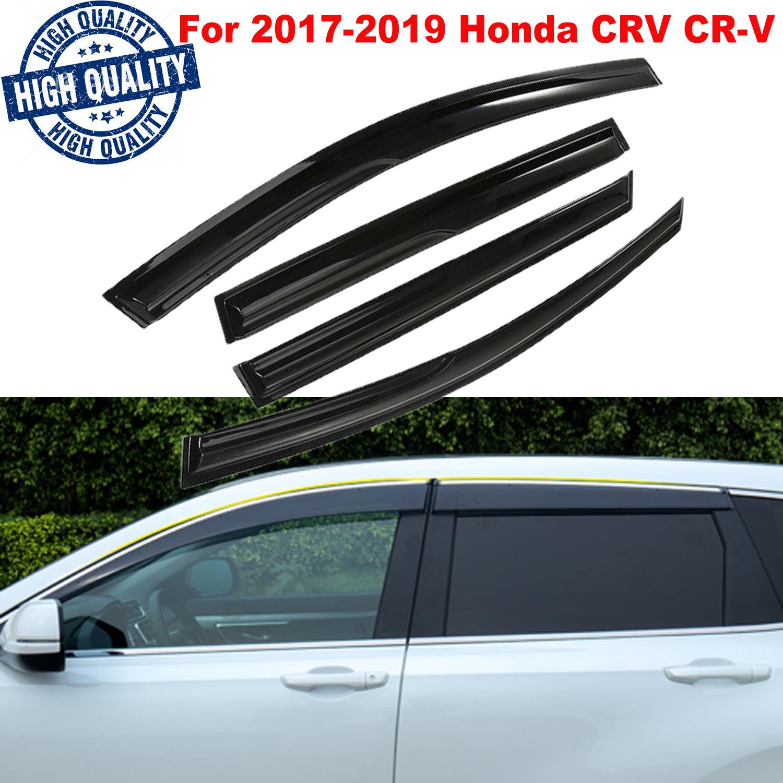 4pcs Smoke Window Visors Vent Shade Sun Rain Guards Fit For 2017-2019 Honda CR-V