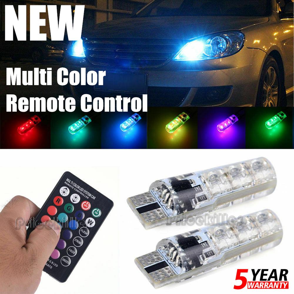 2x T10 6SMD 5050 RGB LED Car Wedge Side Reading Light Bulb+Remote Control TOOL W