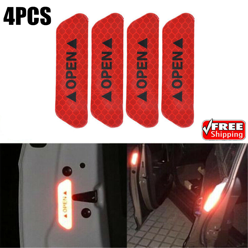 4 Super Red Car Door Open Sticker Reflective Tape Safety