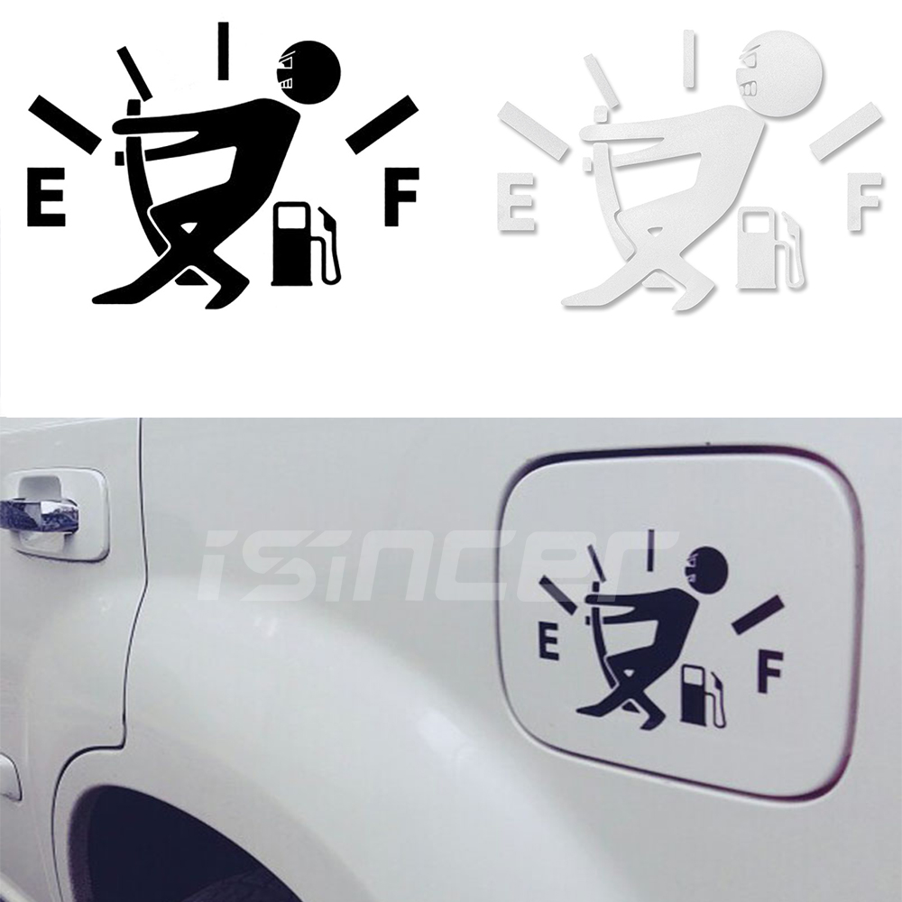 1X Funny Car Vinyl Sticker High Gas Consumption Decal Fuel Gage Empty Sliver-NEW