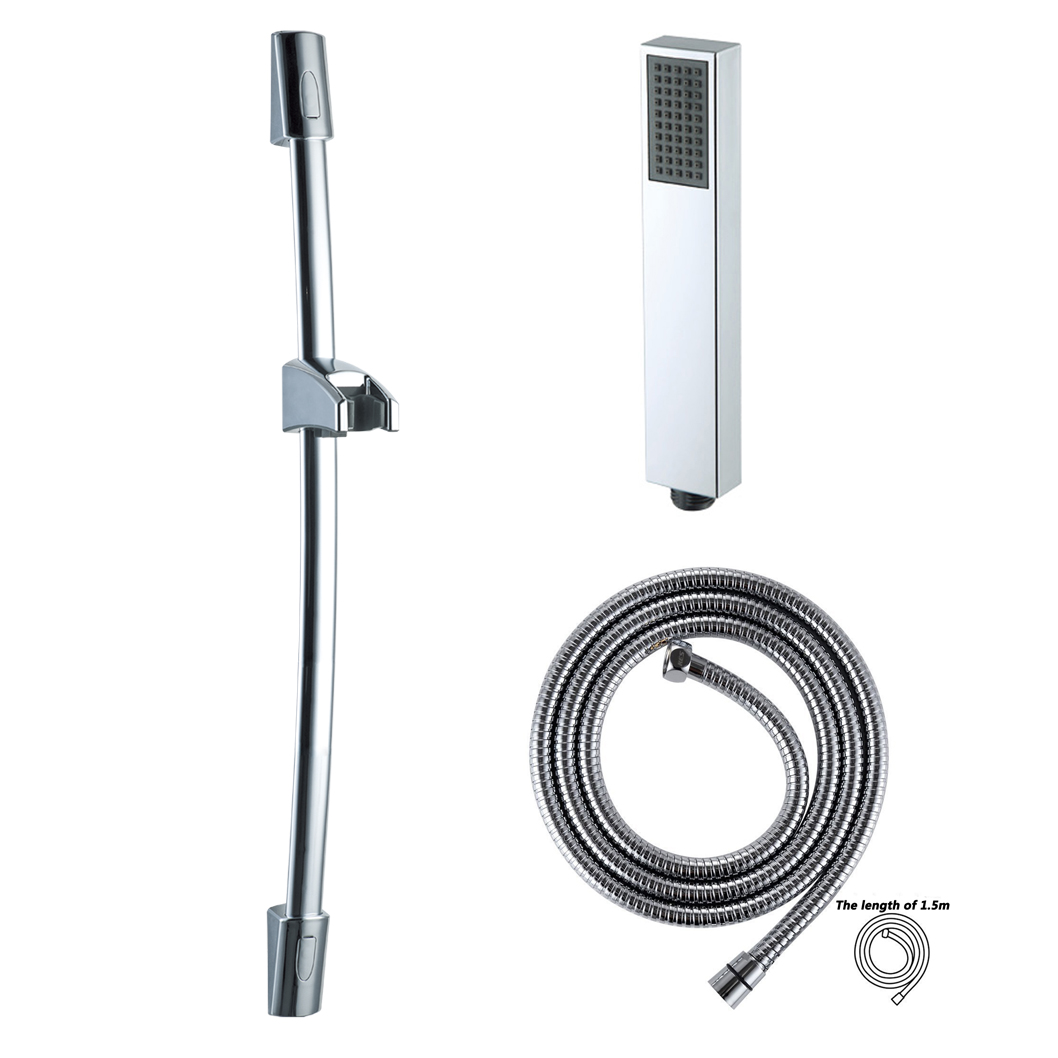 Shower Riser Slide Rail Bar Kit Hose Bracket Square Shower Head ...