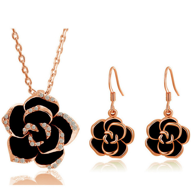18k Gold Plated Crystal Costume Jewelry Sets Black Rose Flower