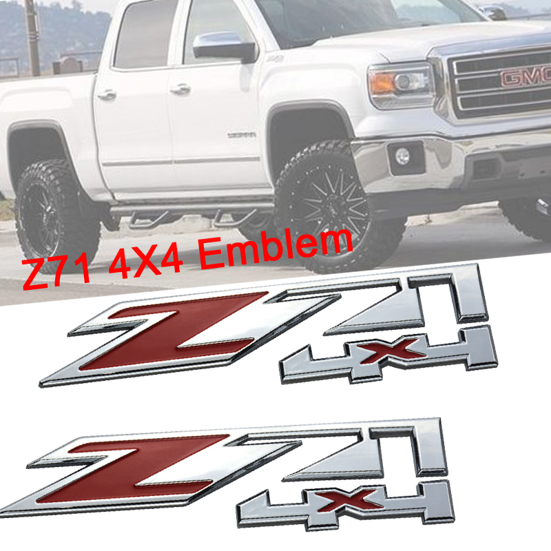 2pcs Red Z71 Chevrolet Emblem Decal Badge Sierra Suburban Silverado