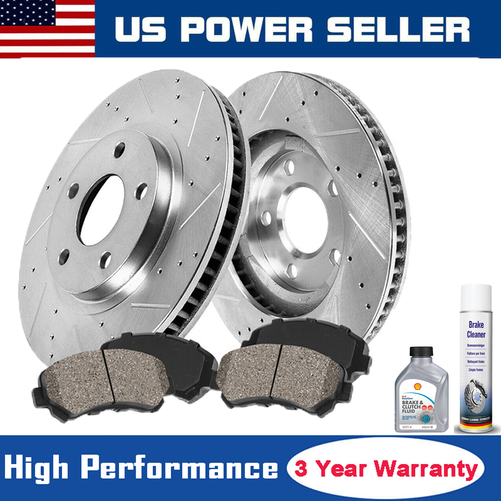 8 4 Ceramic Brake Pads Fits 2006-2010 Pontiac G6 New Brake Rotors Front Rear