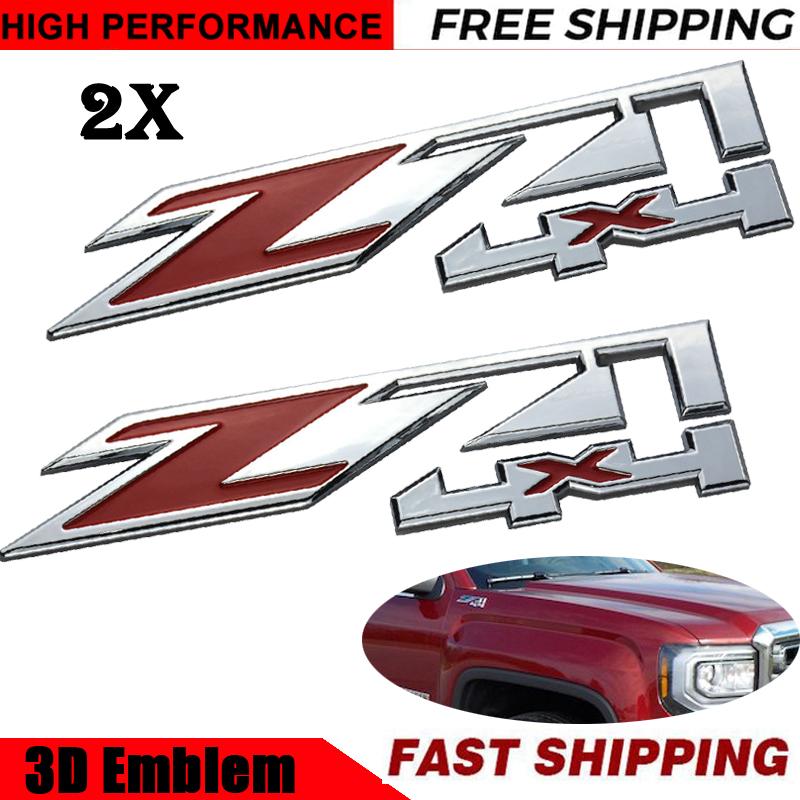 2 Pcs Red Chrome Z71 4x4 Emblem Badge Fits Chevy Silverado