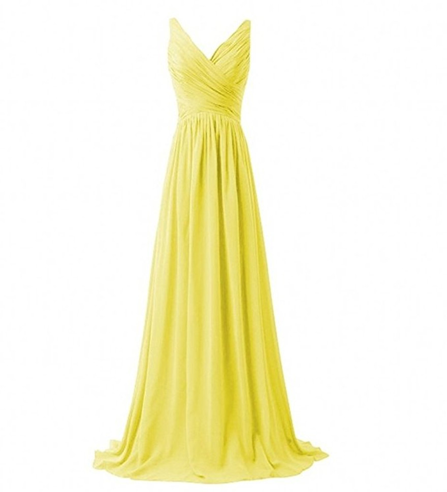V-Neck Ruched Long Prom Dress for Women Formal Party Bridesmaid Gown Stock Size
