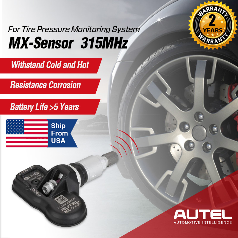 Autel MX 315MHz TPMS Programmable Sensors for Tire Pressure Monitoring System Metal Stem Qty of 4