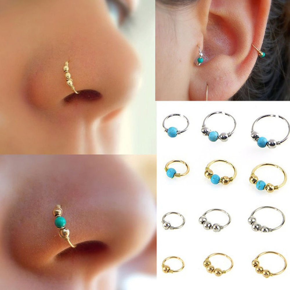 6//8//10mm Septum Clicker Nase Ohrring Creolen Captive Piercing Helix Tragus Opal//