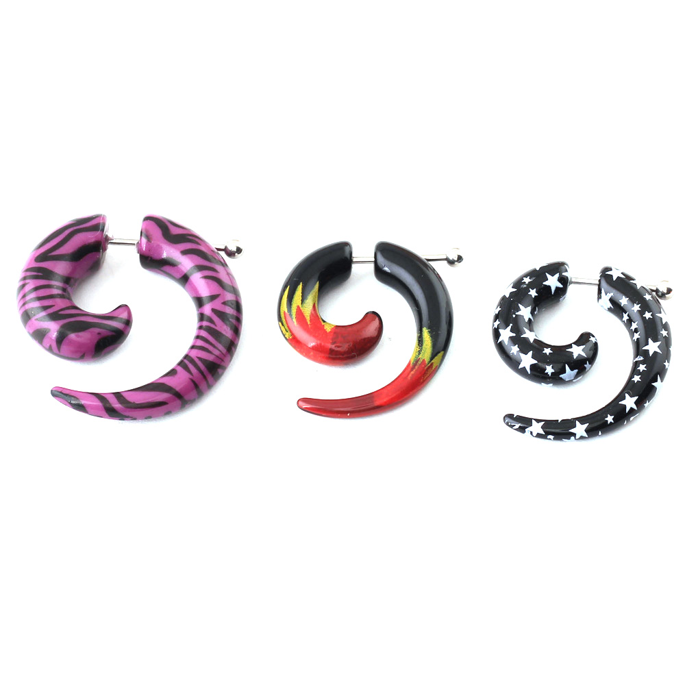 Spiral Gauge Ear Plug Fake Cheater Stretcher Flesh Earrings Piercing Acrylic  Hs