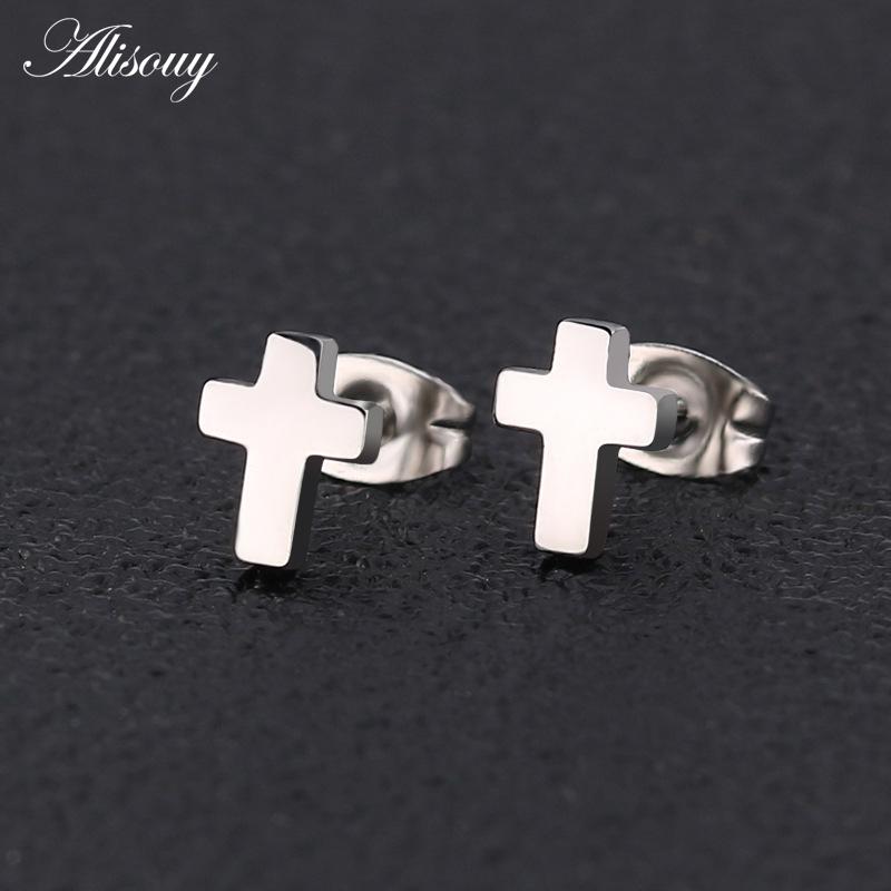 2pcs Men/'s Womens Charm Frosted Stainless Steel Cross Pierced Ear Studs Earrings