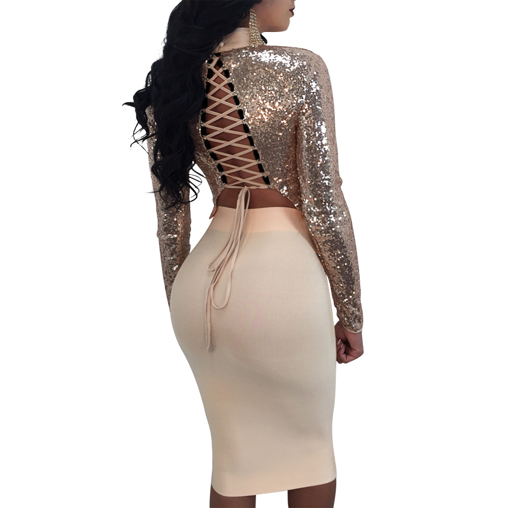 f82988e26c8 Sexy Club Outfits For Women Long Sleeve Lace up Bandage Crop Top + Midi  Skirt