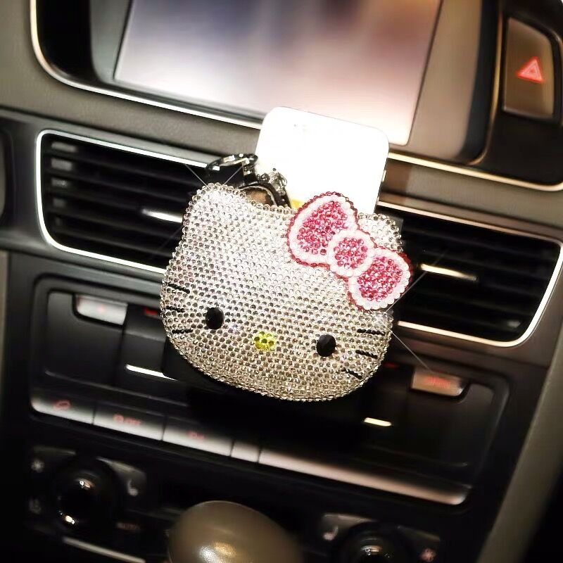 Cute Rhinestone Crystal Hello Kitty Universal Auto Car Buckle Keyring Black
