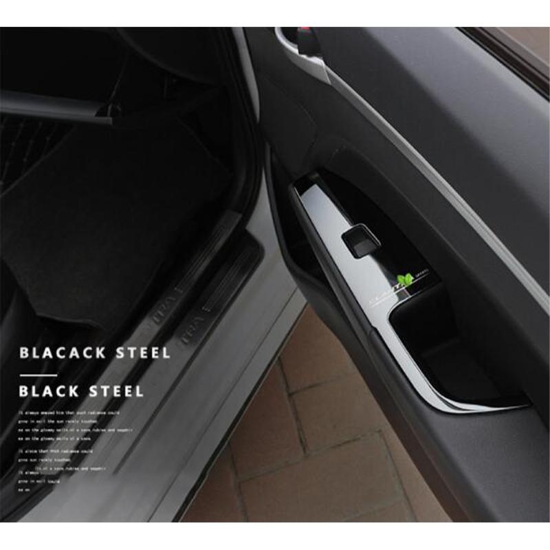 Black titanium Inner Car Window Switch Cover Trim For Hyundai Elantra 2017 2018