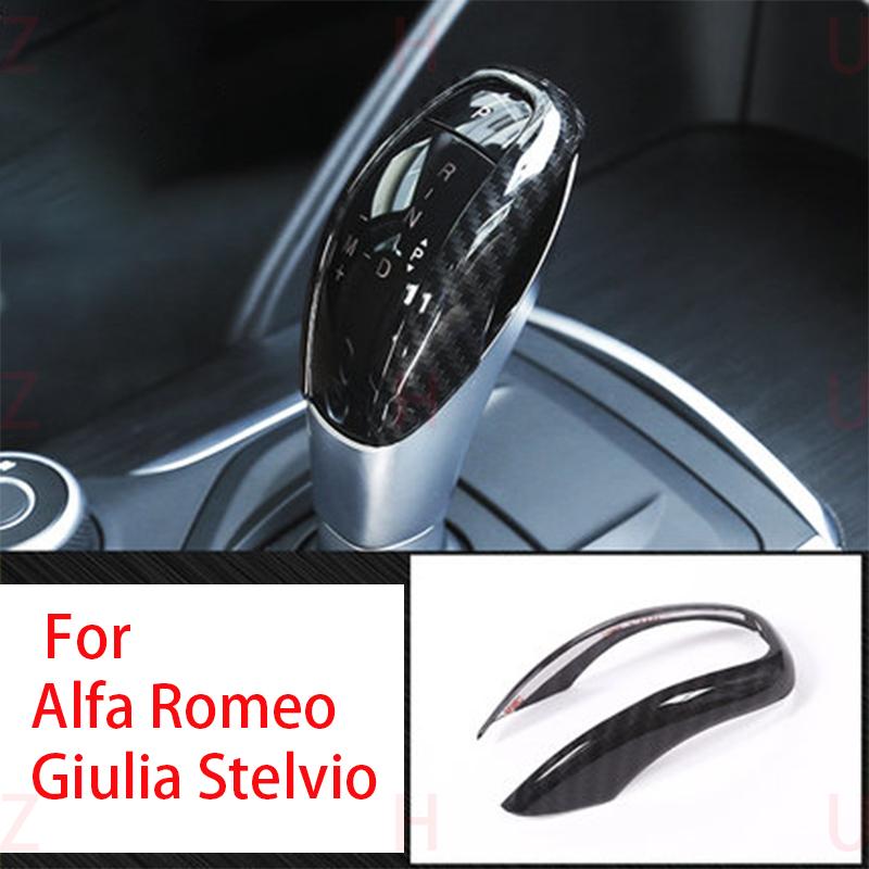 1PCS Carbon Fiber ABS Shift Lever Trim For Alfa Romeo Stelvio Giulia 2017-2018
