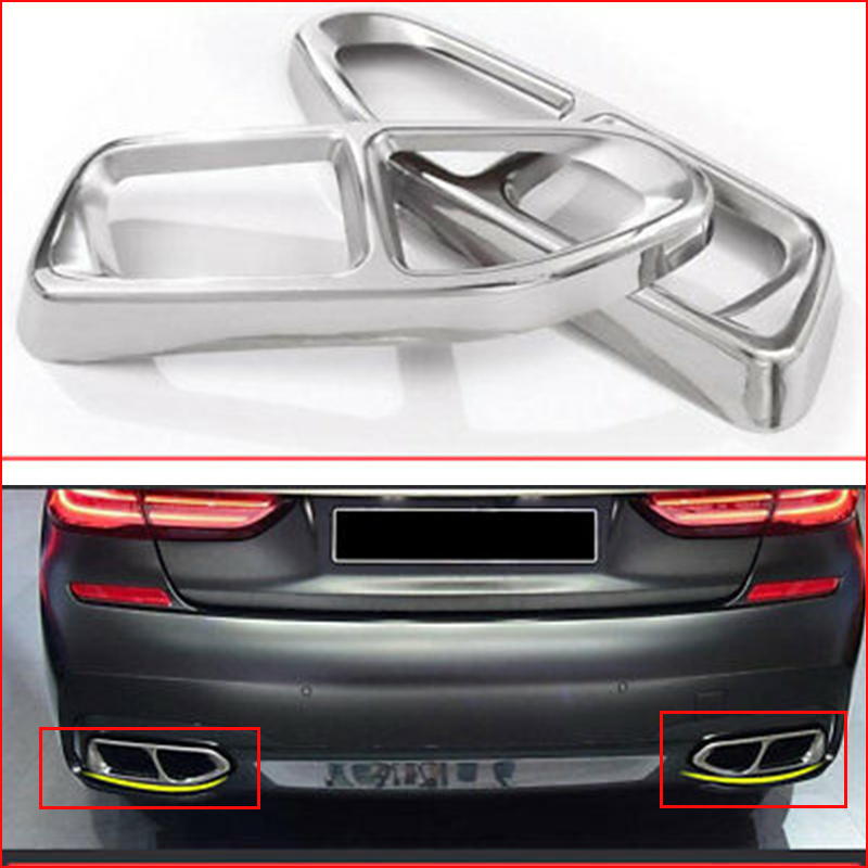 Stainless Steel Car Accessory Exhaust Cover Trim For 7 Series G11 G12 730 740 750li 2016-18 M Sport
