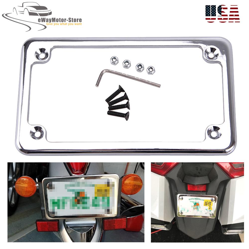 "7/""x4/"" License Plate Frame 6/"" LED For Honda//Suzuki//Yamaha//Kawasaki//Harley"
