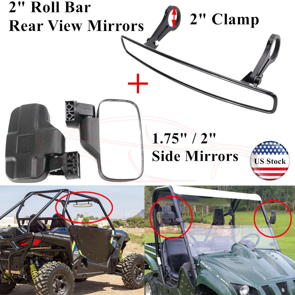 "2/"" UTV Rearview Mirror for Polaris Ranger RZR XP1000 Can am Maverick Commander"