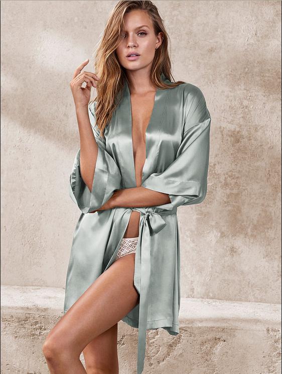 Imitate Victoria\'s Secrets Silk Satin Short Kimono Robe Dressing ...