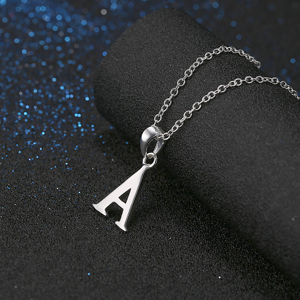 925 Sterling Silver Filled Letter Pendant Necklace Women Jewelry Xmas Gift