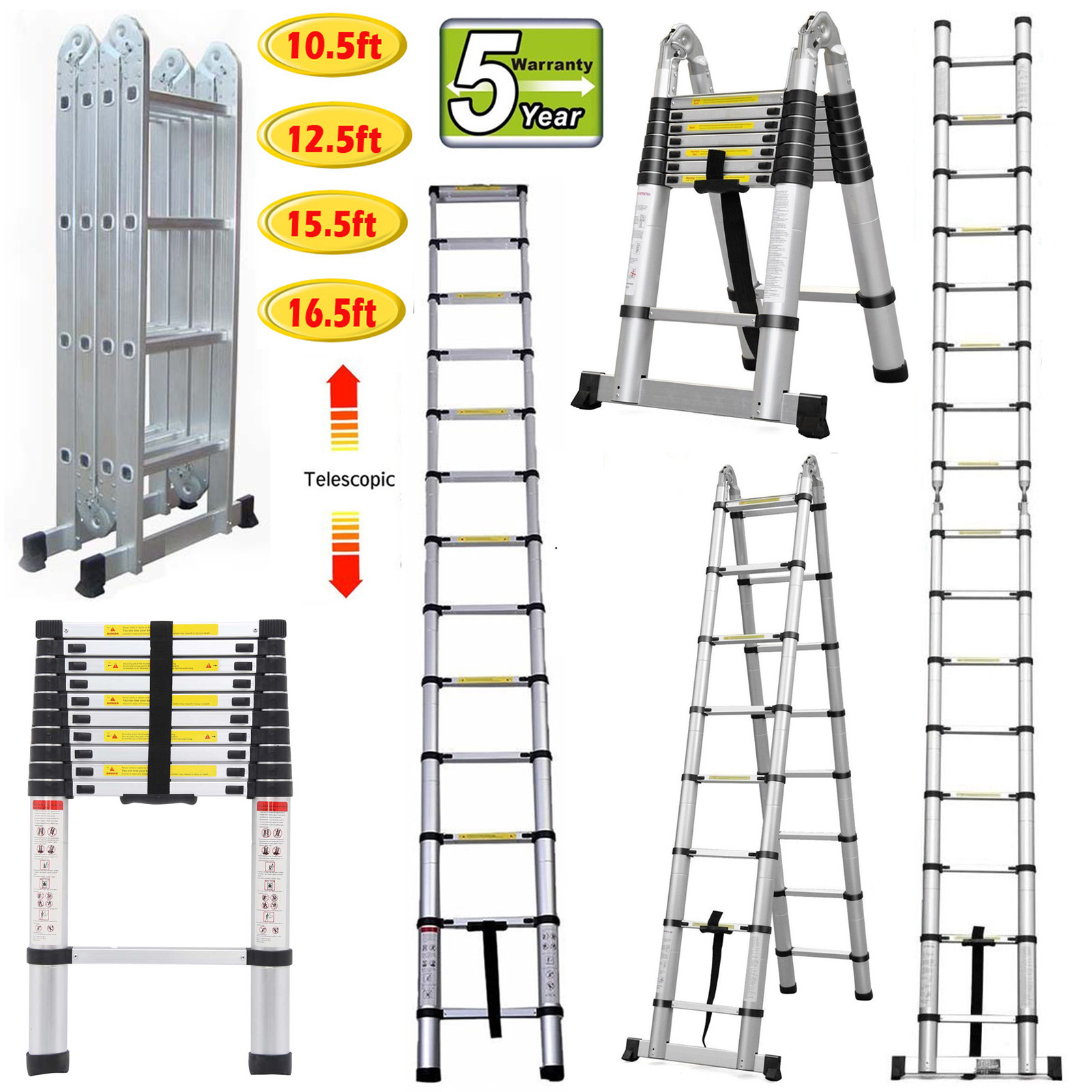 Portable Multi-Purpose Aluminium Telescopic Ladder Loft Folding Extendable EN131