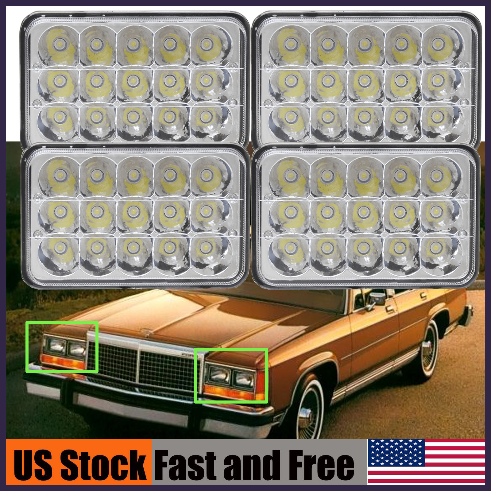 4x6 Led Vintage Car Headlight For Ford Ltd Crown Victoria Mustang 1970 Granada Ip68