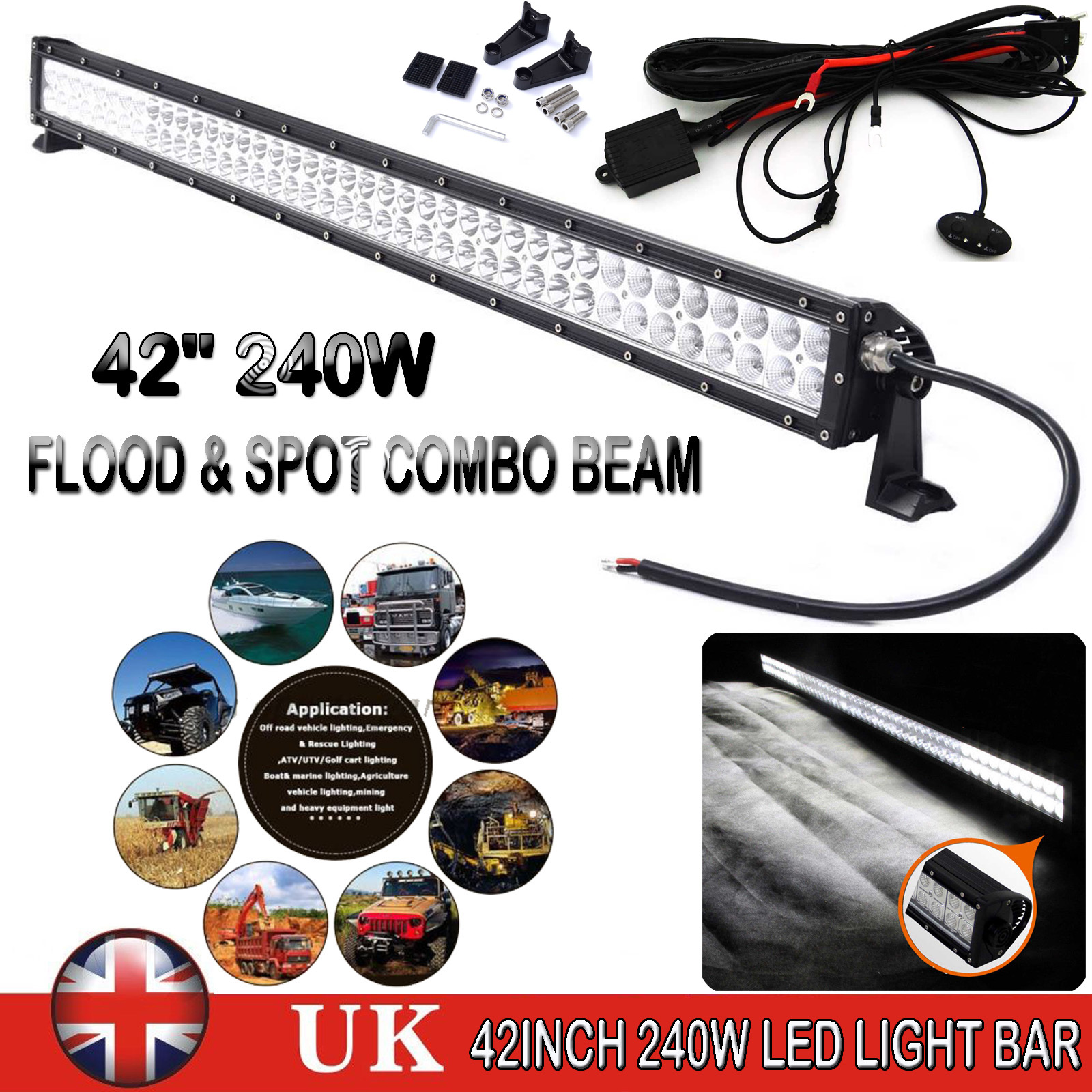 42039039 Inch 80 Led Work Light Bar Flood Spot Offroad Lamp Golf Cart Wiring Harness 42 240w With