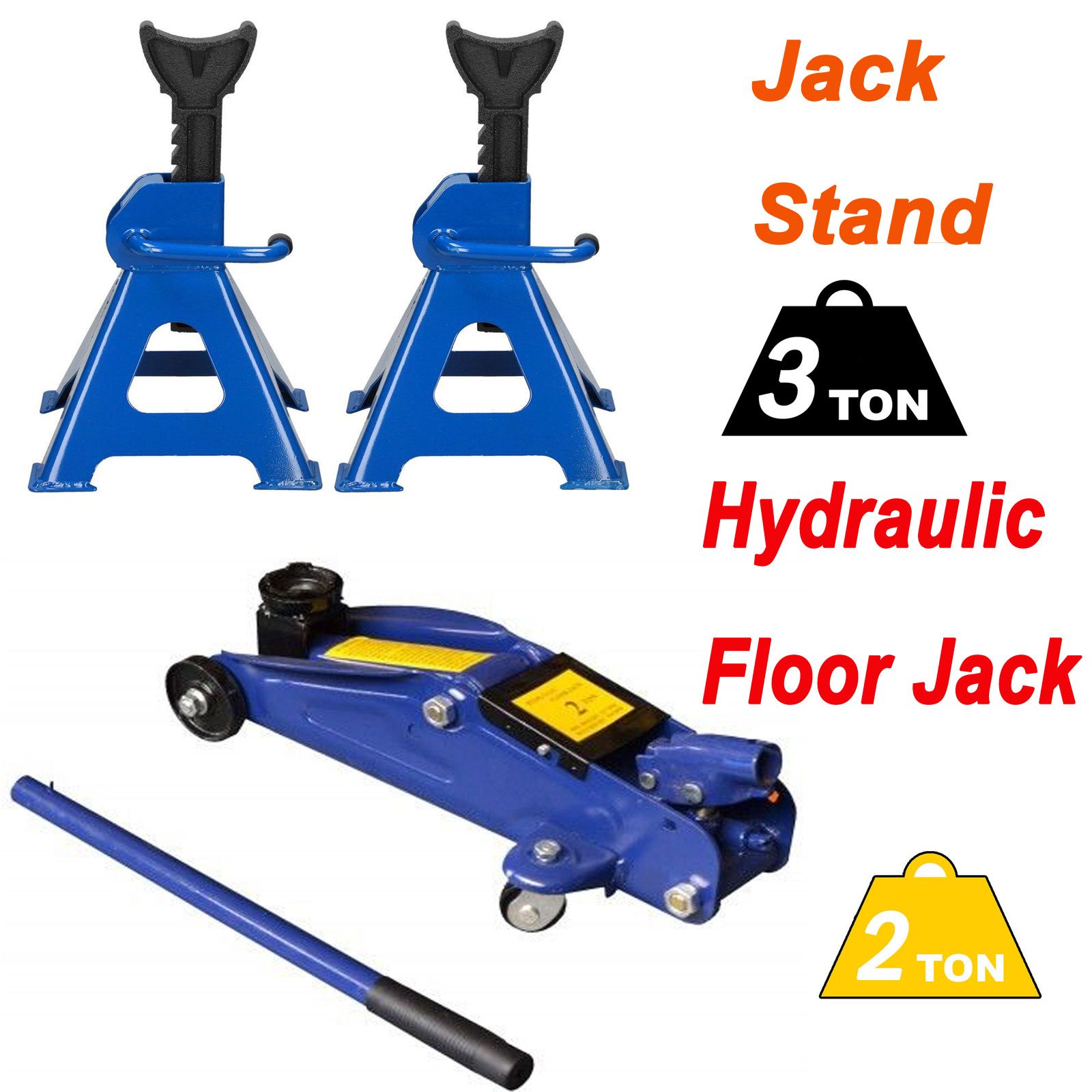 Details about 3T Car Jack Stand Axle Support Vehicle Holder Lift Tool + 2T  Floor Jack Lifting