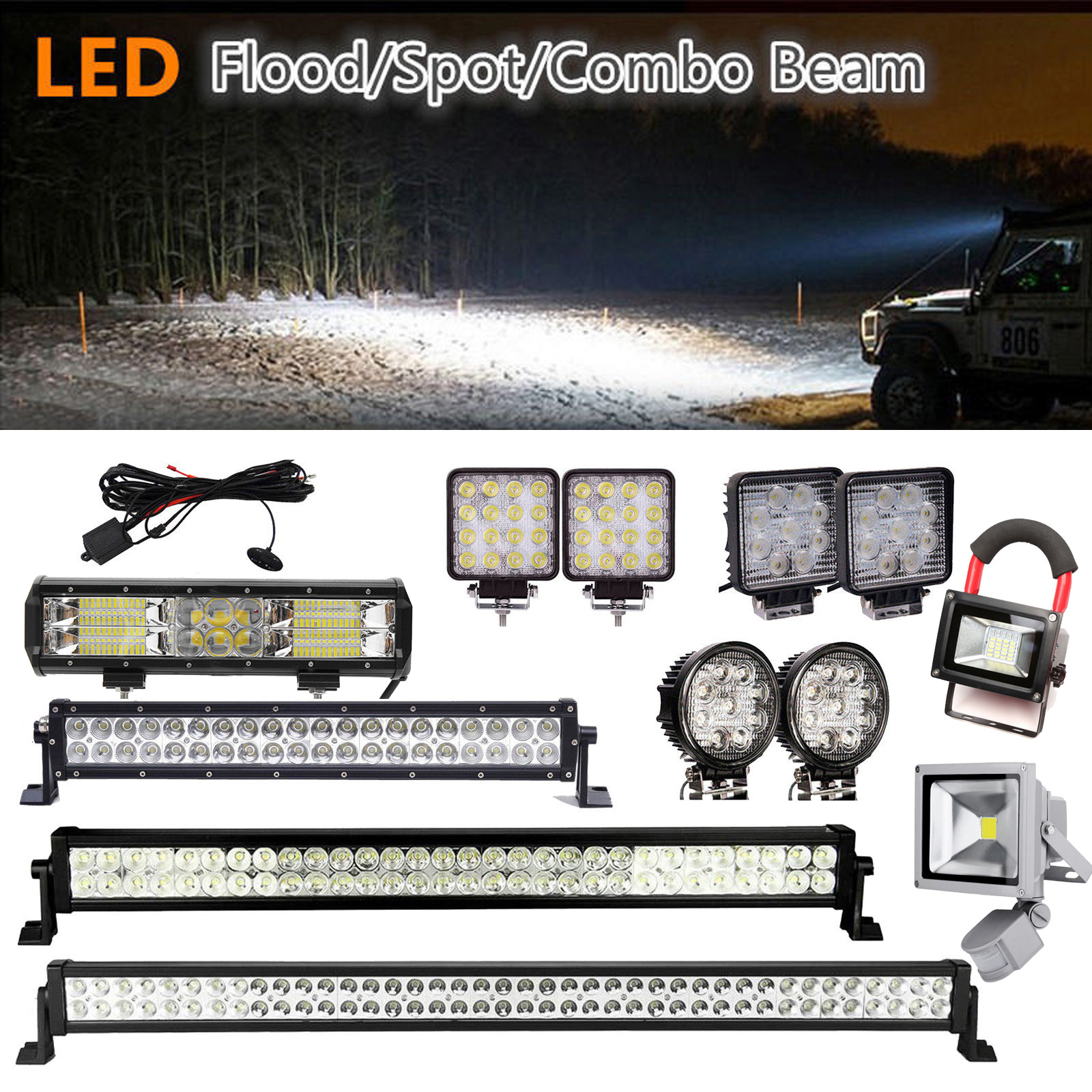 Magnificent Details About Led Car Work Light Bar Spotlight Floodlight Car Flood Spot Combo Lamps 12V 24V Home Remodeling Inspirations Basidirectenergyitoicom