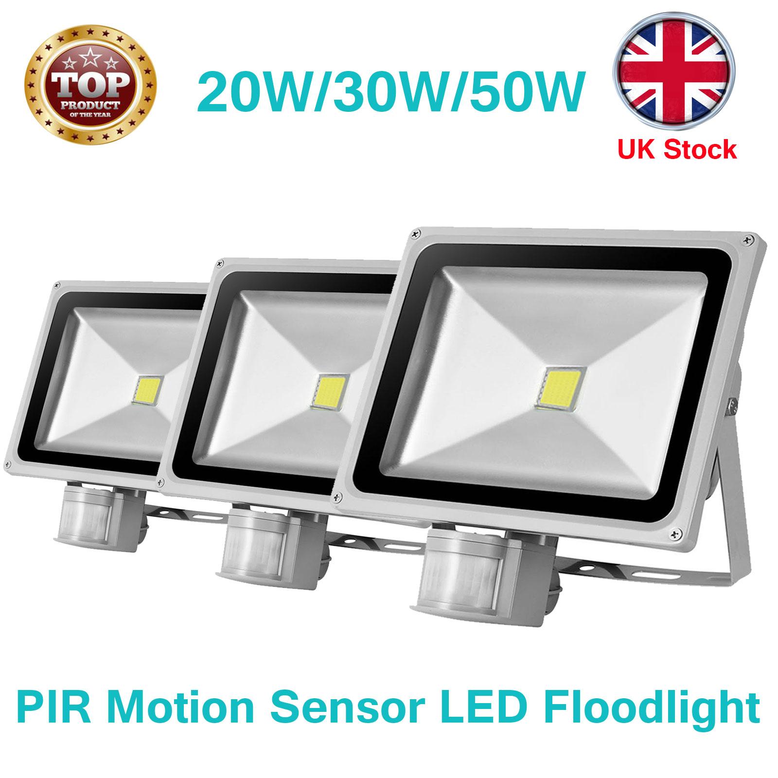 Details About 20w 30w 50w 100w Led Flood Light Pir Motion Sensor Outdoor Security Uk