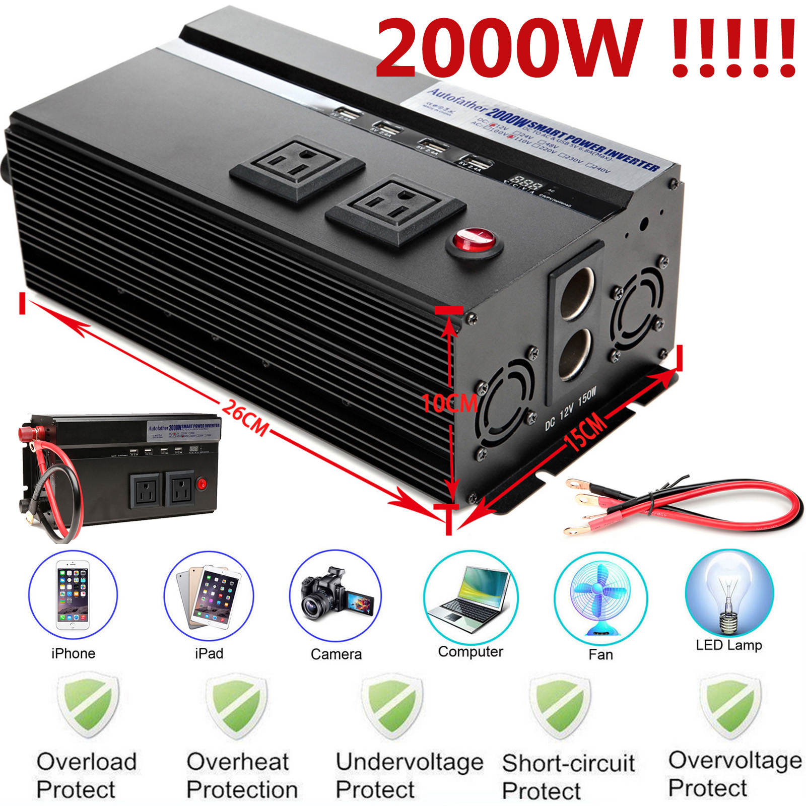 Details About Car Van Boat Camping Outdoor Use Power Inverter Converter 2000w Real High Power