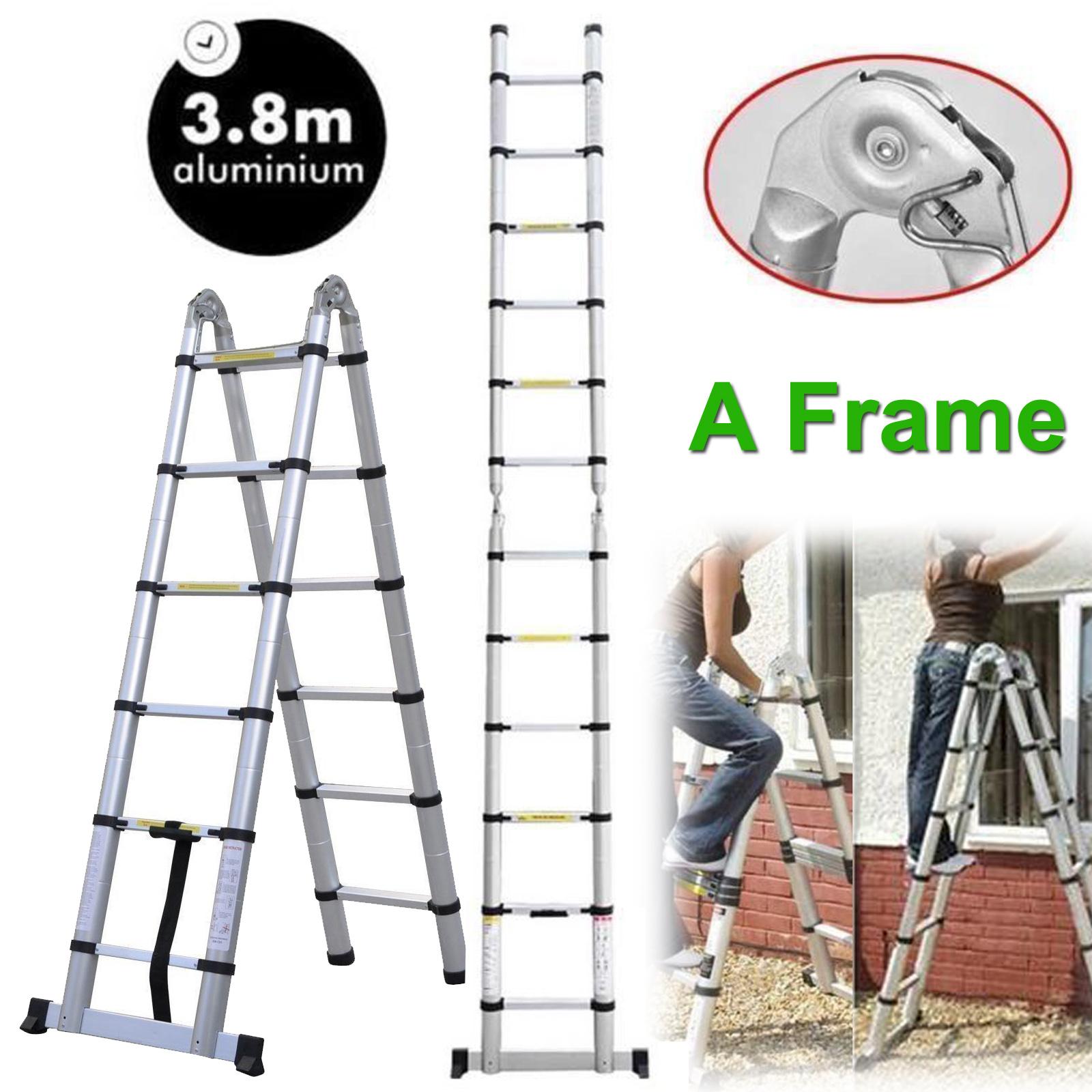 3.8M A Frame Heavy Duty Multi-Purpose Aluminum Telescopic Ladder ...