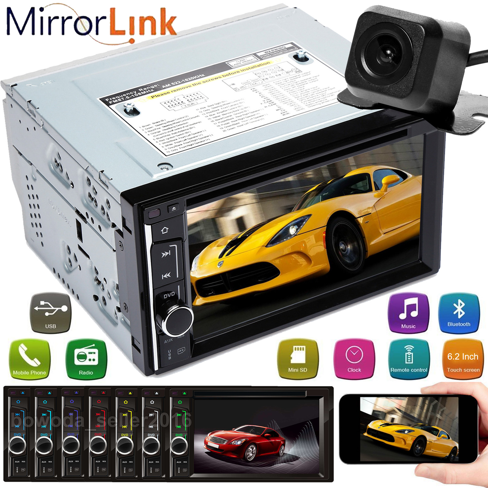 """7/"""" Double Din Mirror Link Car Stereo Touch Screen Radio Audio MP5 Player FM+Cam"""