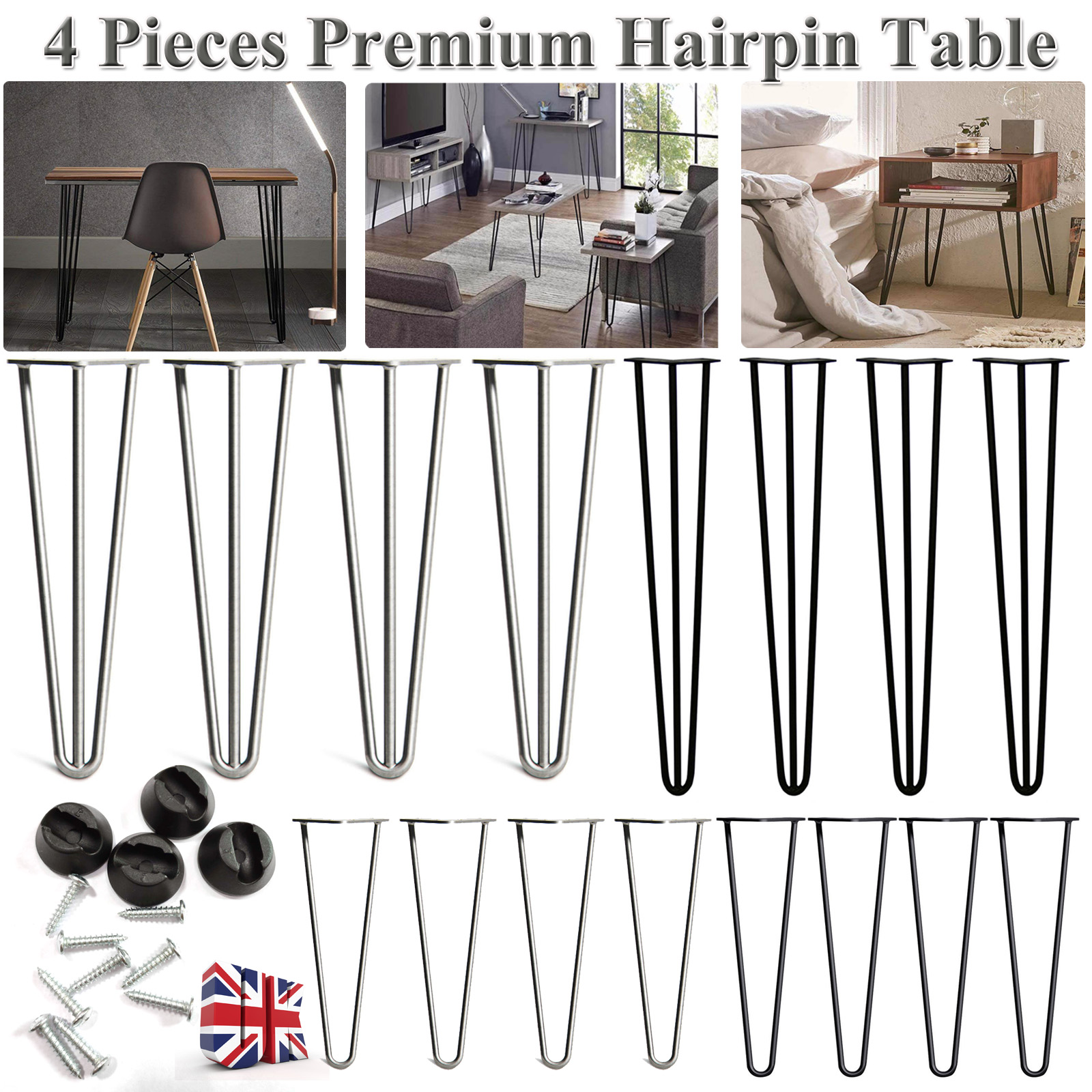 "4 x 8/"" 12/"" 16/"" 28/"" Hairpin Coffee Table Legs DIY Home Furniture Parts Metal  US"