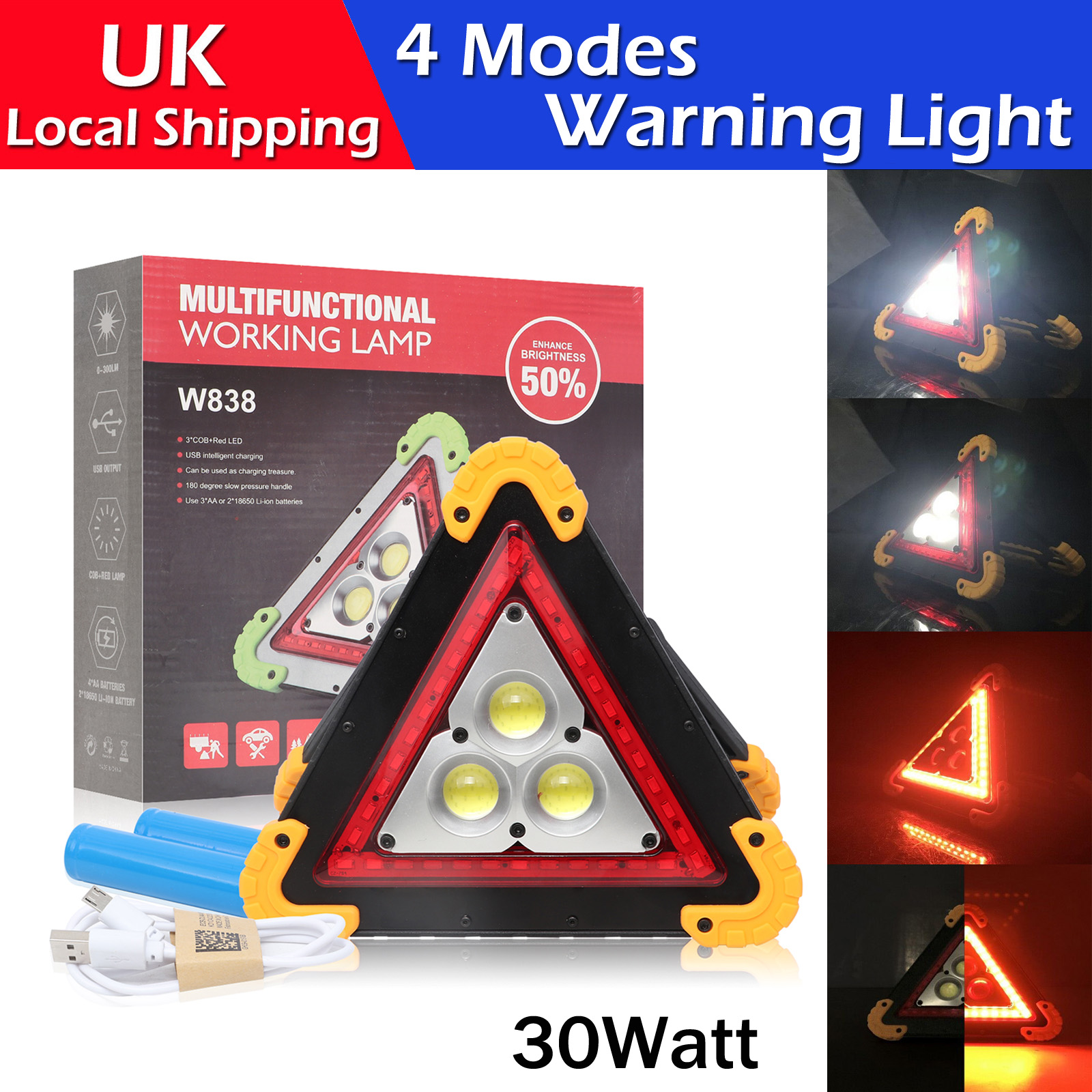 Car Hazard Warning Light Triangle Flashing LED COB Work Road Emergency Lamp UK